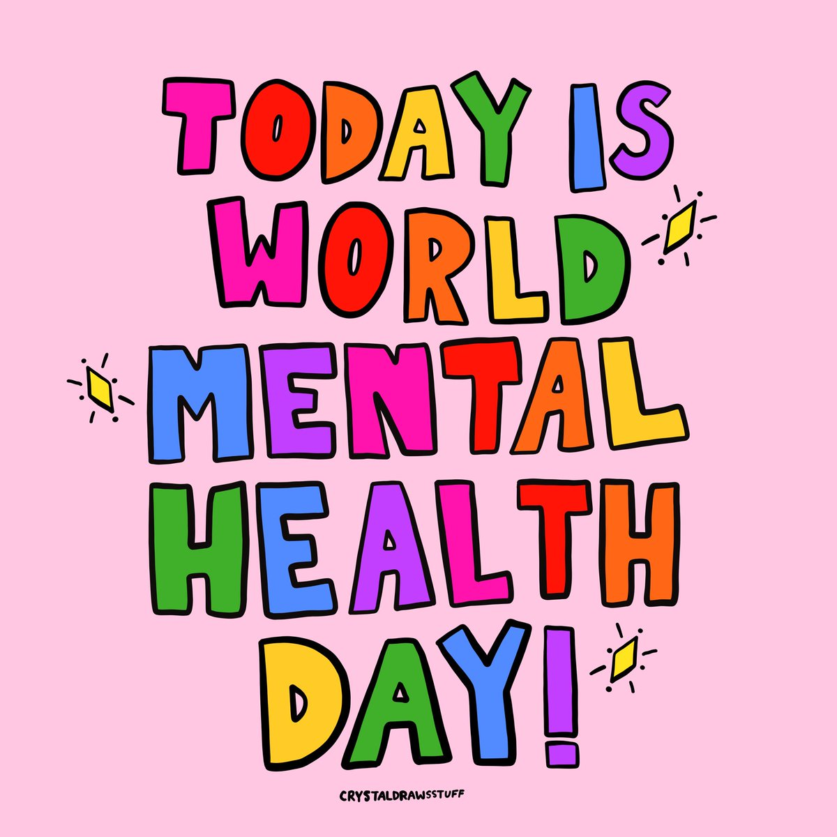 TODAY IS WORLD MENTAL HEALTH DAY! Let's be open to starting a conversation, let's help people, let's remind everyone we're not alone. 🧠✨🌎🌈 #WorldMentalHealthDay #MentalHealthAwarenessWeek #MentalHealthMatters