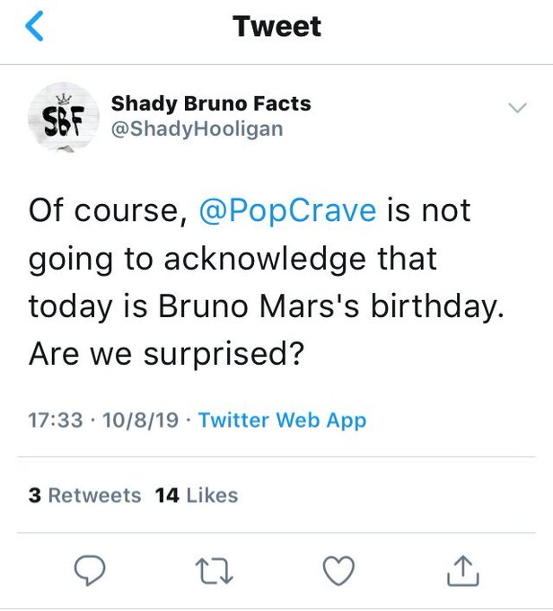 Bardi Gang, is this true? Why Pop Crave wouldn\t wish a happy bday to Bruno Mars? Is it the first time they do that?