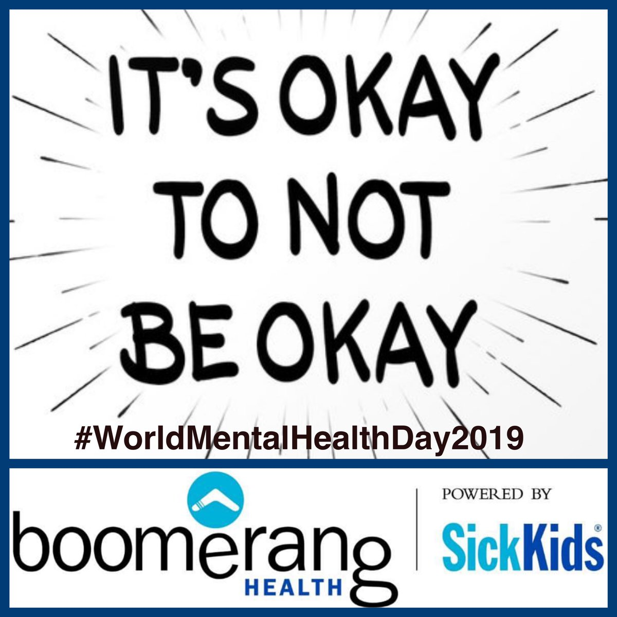 Today is #WorldMentalHealthDay 👍#Accept ❤️#Love 👫#Support 👂🏻#Listen 🚫#DontJudge 😰#FeelTheFeels At #BoomerangHealth, we are proud to offer a variety of services that support individuals living with #mentalhealth issues. Our door & hearts are always open. #SickKidsNorth