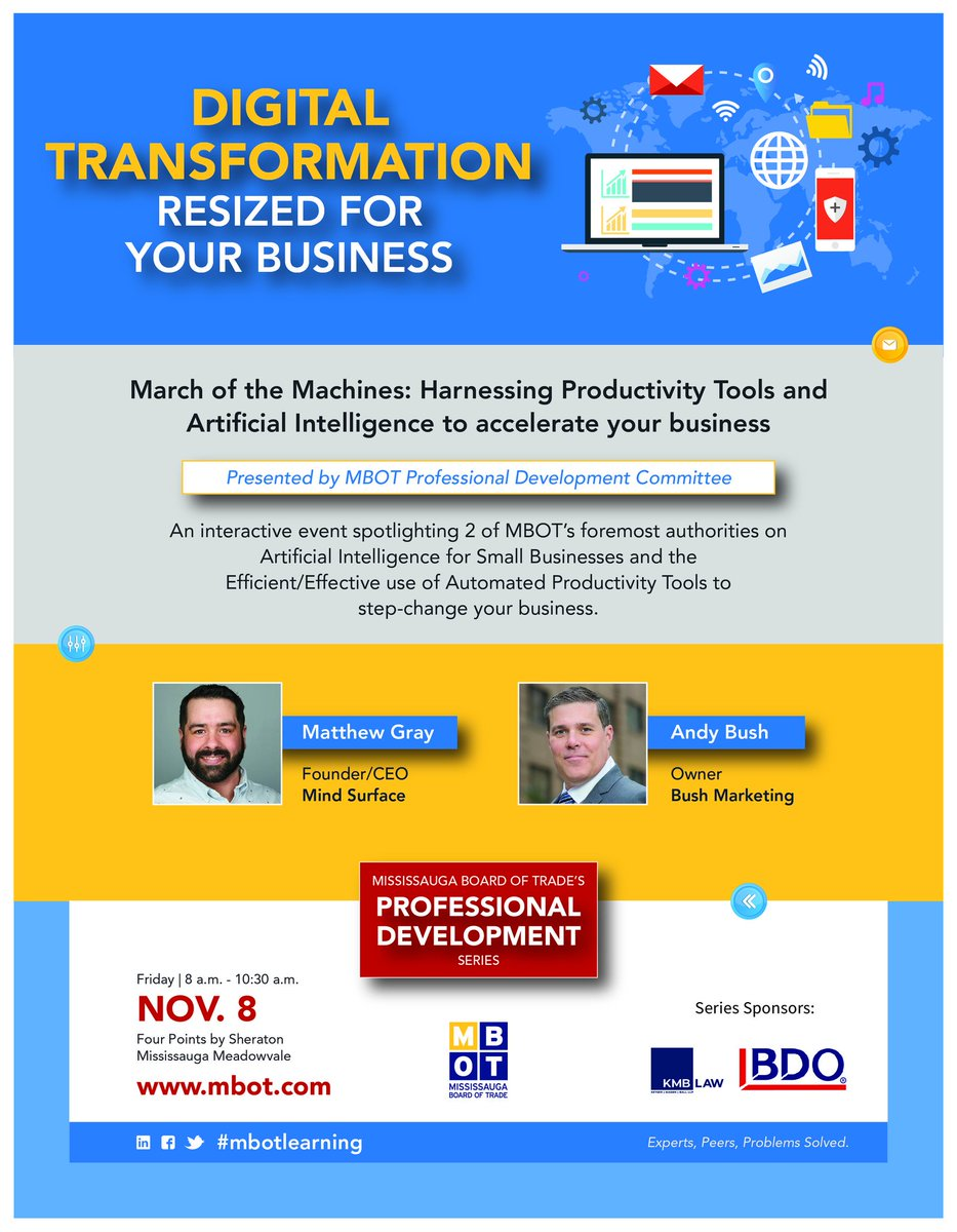 #digitaltranformationWant to learn more on how #digital tools can change your #market presence?Don't miss this workshop on #artificialintellegence, & #productivity tools.A 1st of 3 workshops in this #Digital #Transformation series by @MBOTOntario & #mbotlearning. Stay tuned!
