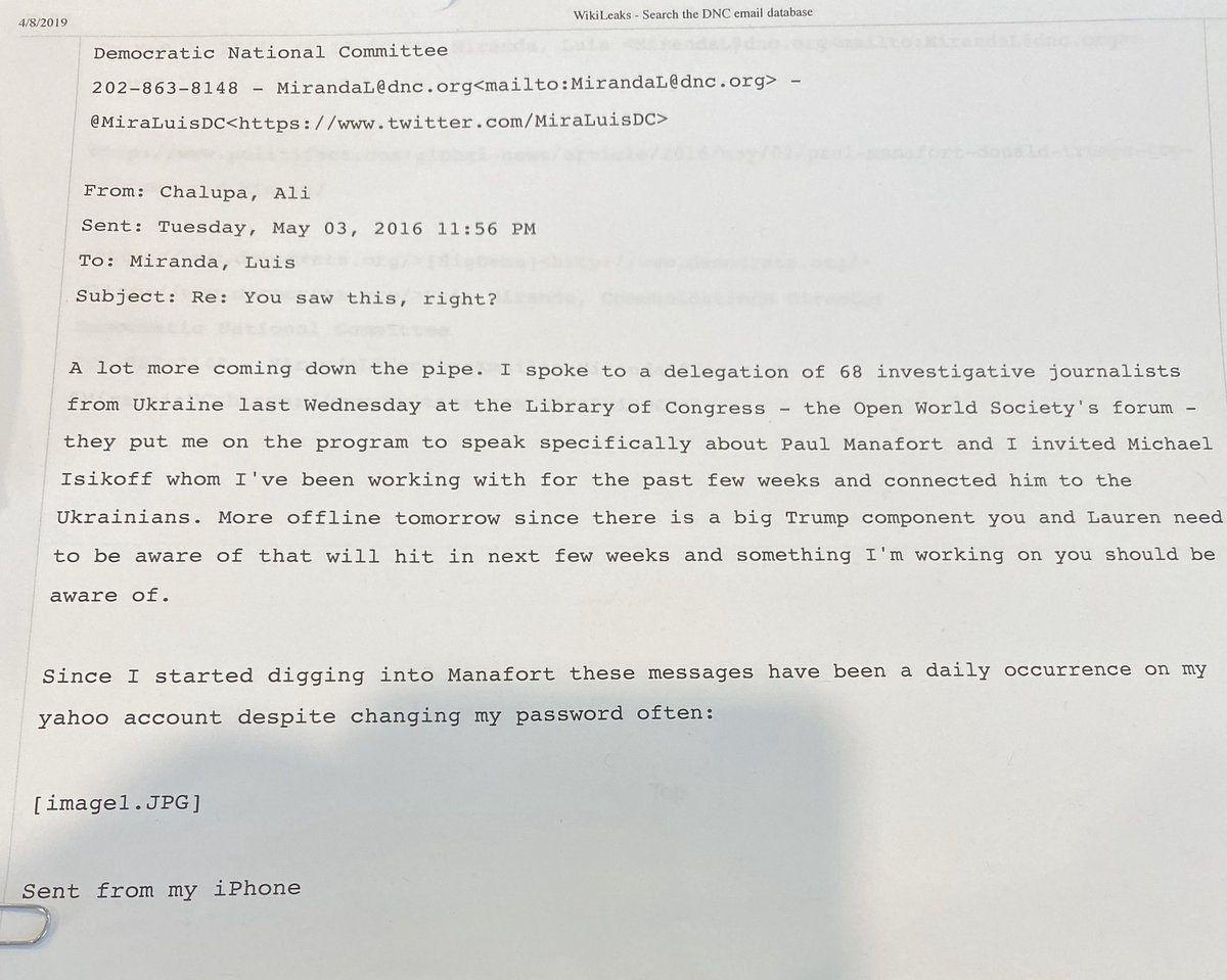 BREAKING NEWS: This email exchange between Ali Chalupa (Consultant for the DNC) and Luis Miranda (Comms Director for the DNC) dated 5/3/16, is one of many instances proving collusion between Ukrainian officials and DNC/Clinton campaign.