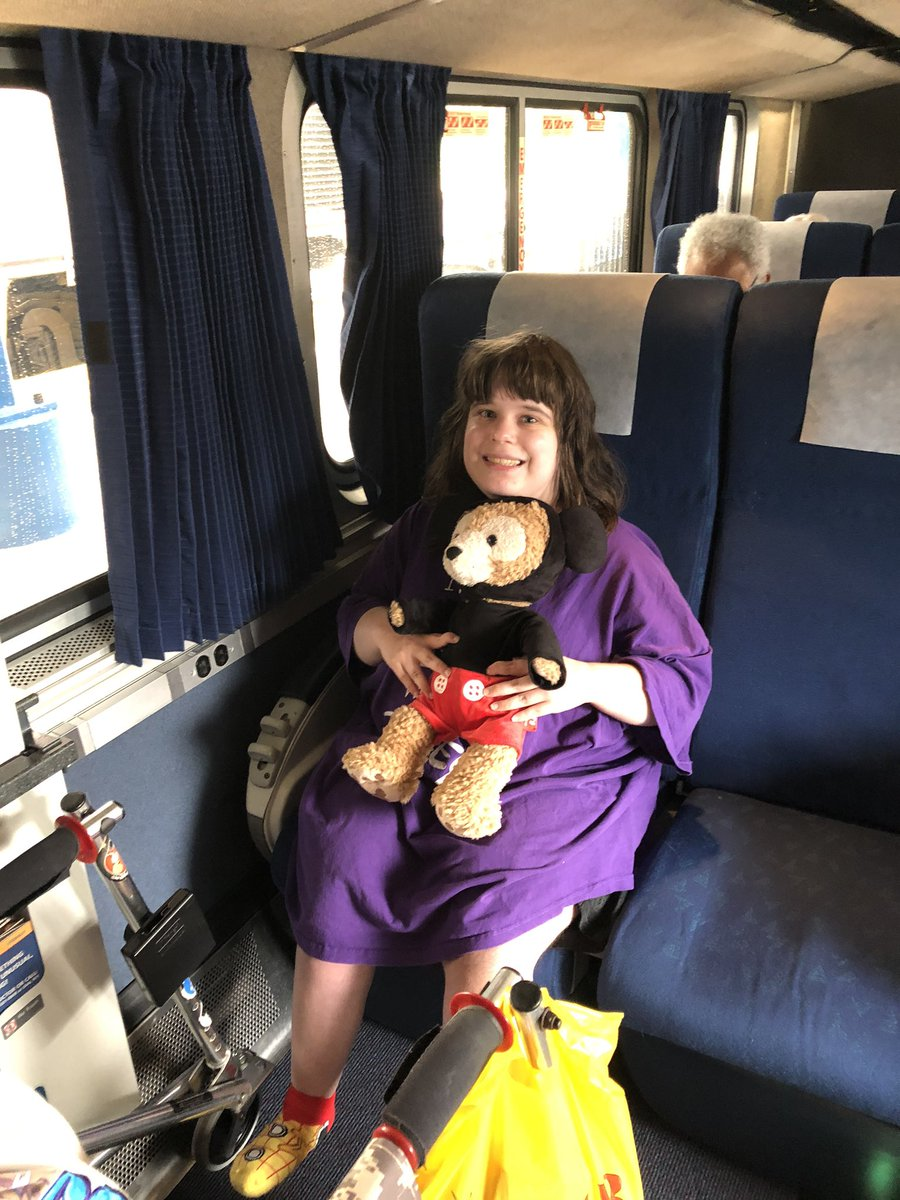 Me and Duffy on train ready go back home we miss you Mickey and Minnie see you real soon 🧸💜🧸. This will be our first time ride train 🚂 together. @Amtrak #duffythedisneybear #Disney #goinghome