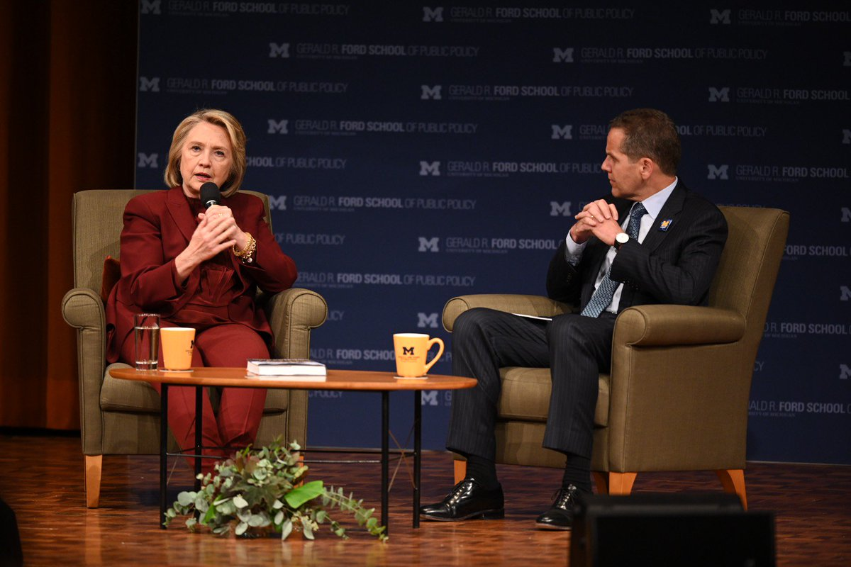 Watch (or re-watch) @HillaryClinton's inaugural lecture of the new Weiser Diplomacy Center moderated by Dean @Michael_S_Barr. https://t.co/Rdt7feHdXY #fordschoolHRC #policytalks #WDCLaunch https://t.co/7iFXdBC7TP