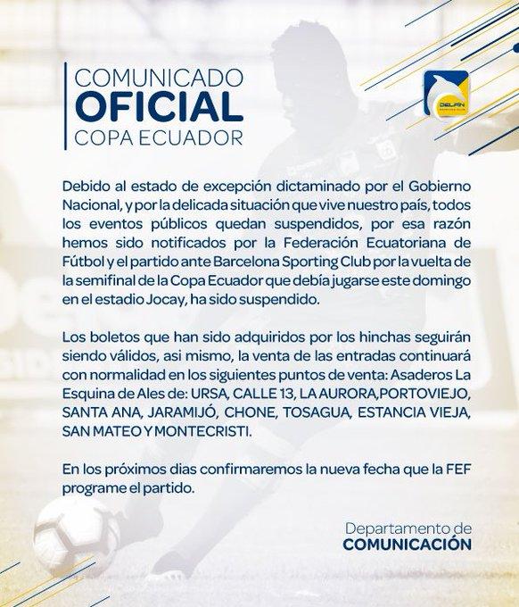 Comunicado del Delfín ratificando suspensión temporal de la 'Copa Ecuador'