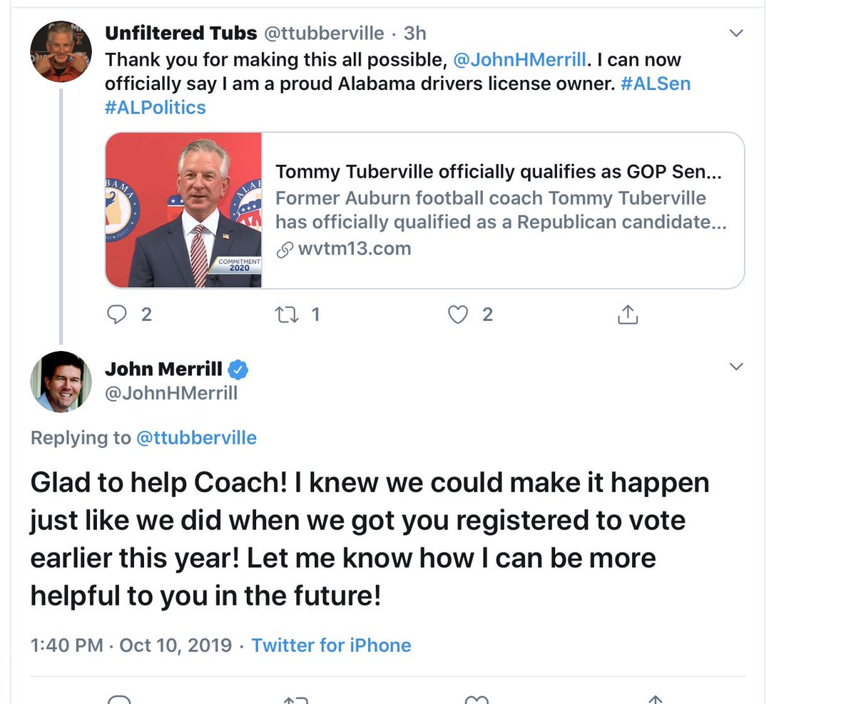 Is the response of Mr. Merrill as Alabama Secretary of State or as a candidate for US Senate? #alpolitics #ALSEN <br>http://pic.twitter.com/eIRr9p0Uob