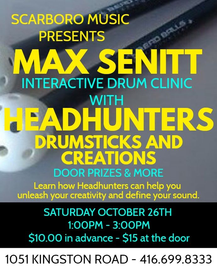 Interactive drum clinic with Max Senitt Satruday October 26th 1:00pm - 3:00pm. Tickets on sale now. $10.00 in advance - $15 at the door. Learn how Headhunters drumsticks and creations can unleash your creativity. AMAZING door prizes and more from Headhunters.  #wearemusic <br>http://pic.twitter.com/pnarkH56SP