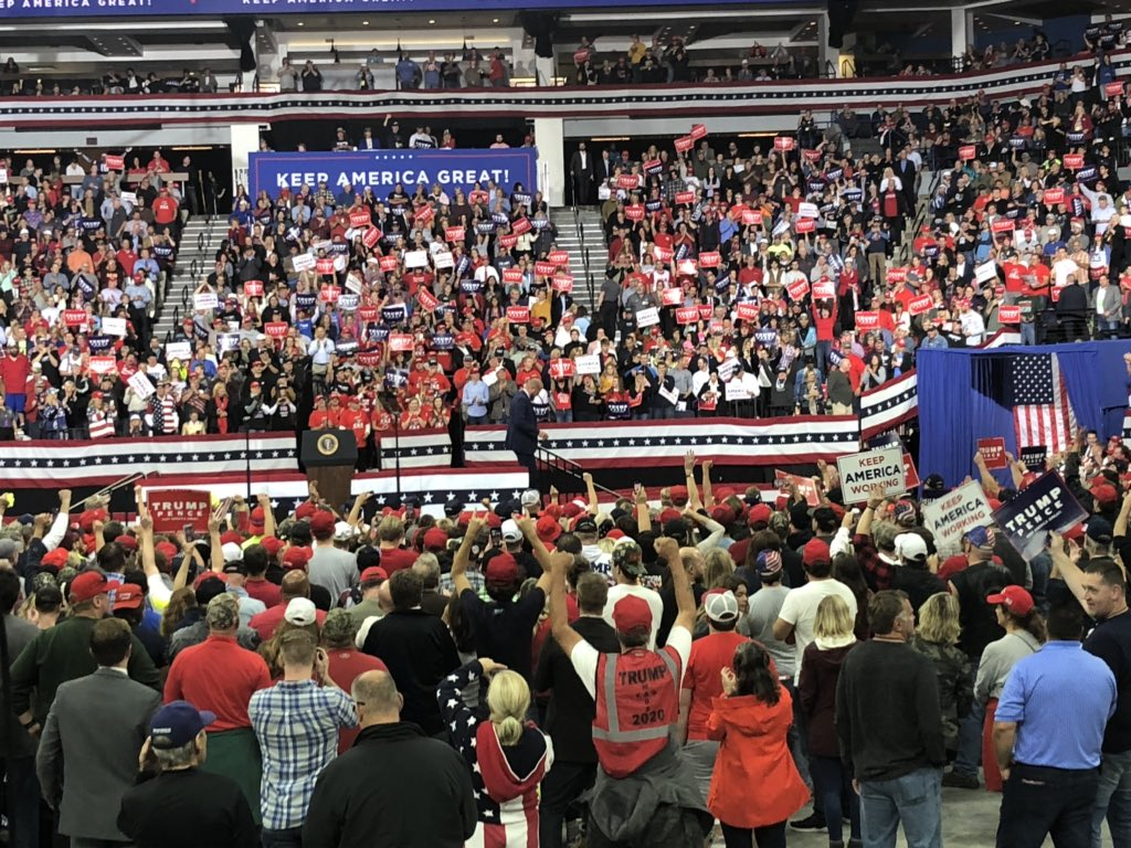 """The POTUS is in the building"" according to President Trump's campaign manager. #TrumpRally"