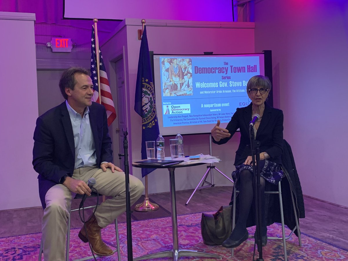 Thank you @GovernorBullock for spending an hour to talk about Democracy! #nhpolitics #togetherwefixit money in politics, gerrymandering, voting rights and more.