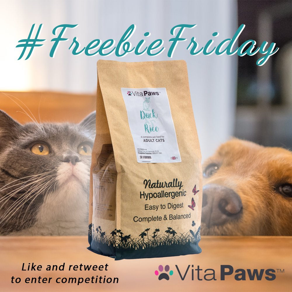 It's #FreebieFriday, everyone!    Simply follow us and retweet this tweet today for a chance to win some Duck & Rice Cat Food! This gentle formula is particularly beneficial for cats that suffer from a sensitive stomach   Good luck everyone  #giveaway #competition<br>http://pic.twitter.com/47DI943ObZ