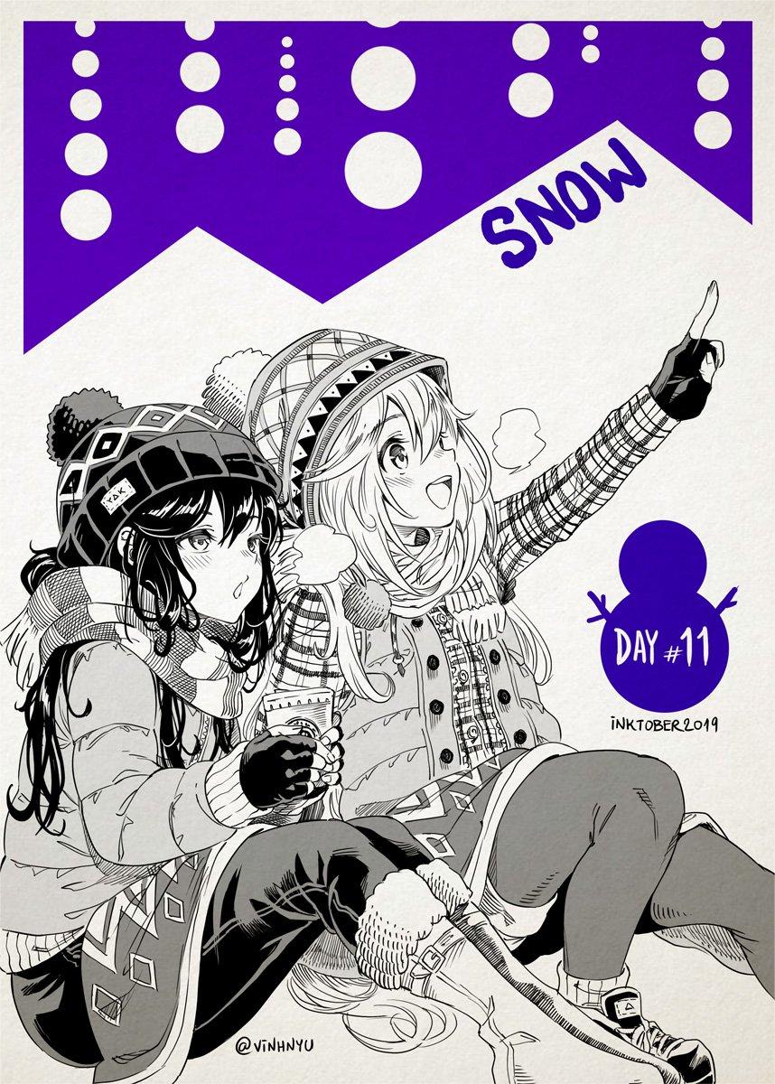 #Inktober Day 11 - SNOW ⛄️ #ゆるキャン #Yurucamp @nobi__nobi #Inktober2019 #inktoberday11