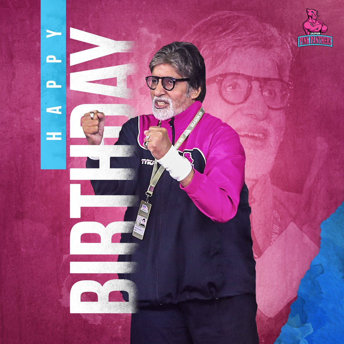 Happy Birthday to our pillar of inspiration Mr. @SrBachchan. We wish you good  health and a great year ahead!  #RoarForPanthers #JaiHanuman #TopCats #bachchan
