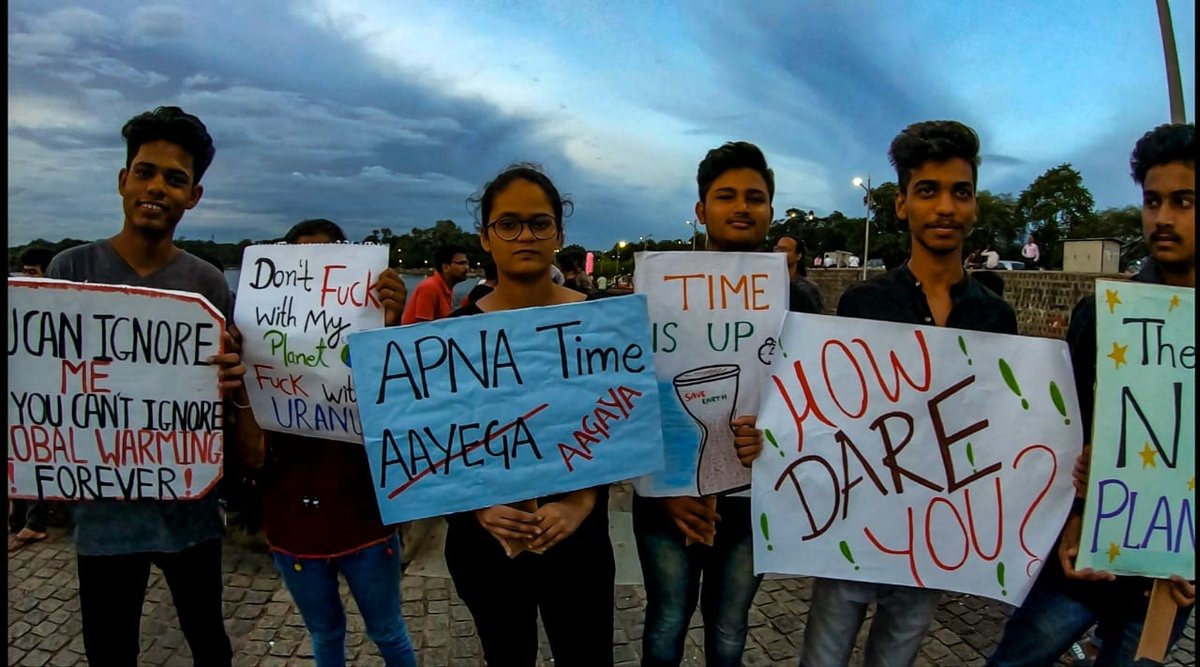 These are some photos from Nagpur. Striking is for a good cause, its for the future. Its an excused absence from school. You know, the vibes, man. #climatestrike #FridaysForFuture #GretaThunberg #ClimateChange @GretaThunberg