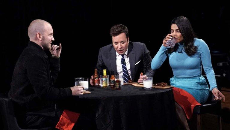 Priyanka Chopra Jonas, Jimmy Fallon take on viral hot ones challenge  http://thr.cm/TEzgTN
