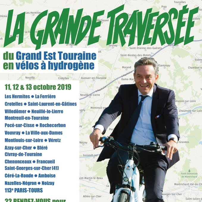 """Le Député de la 2e circo d'Indre et Loire @LabaronneDaniel parcourt l'Est de la Touraine avec les vélos H2 livré par @PragmaFuelCells à la @comcomTVI.  Belle""""Grande Traversée""""🚵♂️et merci pour cet engagement en faveur de la #mobilité #hydrogène.😎 #véloH2 #H2Now #H2bike"""