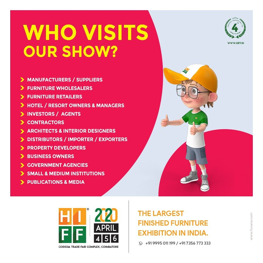 Who visits our show ??  Have a look #HIFF #HIFF2020 #hiffy #furnitureexpo #furnitureexhibition #furnituremanufacturer #furnituretrade #furniturefair #furniturefair2020 #coimbatoreevents #events2020pic.twitter.com/WPezgwei5Y