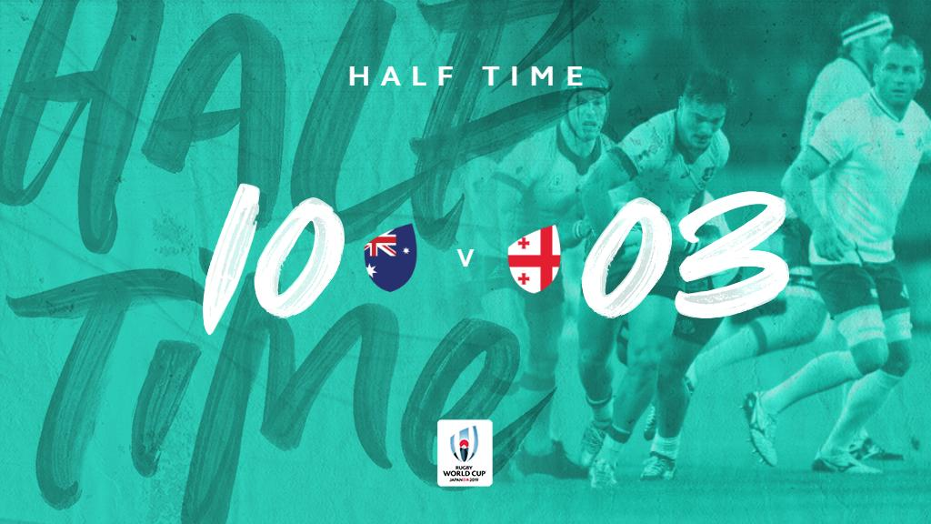 Half-time | Its a tight match at #RWCShizuoka. @wallabies lead thanks to a Nic White try but @GeorgianRugby have 3 points on the board through the boot of Matiashvili. How do you see the second half going? #RWC2019 #AUSvGEO