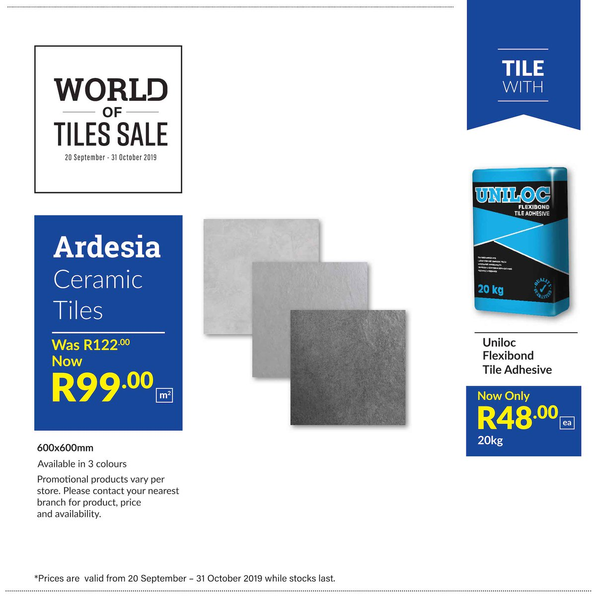 Union Tiles On Twitter Save Bigat The Union Tiles World Of Tiles Sale Get 600x600mm Ardesia Ceramic Tiles Available In 3 Colours For Only R99pm2 Until 31 October 2019 While Stocks Last