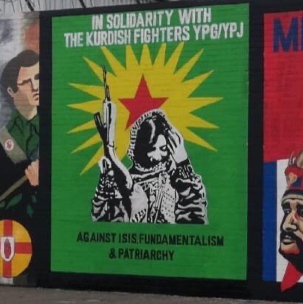 New mural on the international wall in Belfast in solidarity with the Kurdish people - Bijî Kurdistan!! @KurdsCampaign #SaveRojava