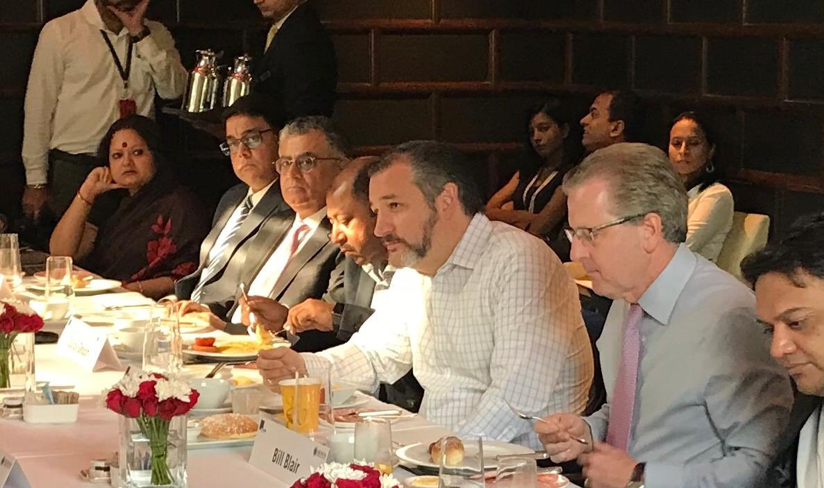 Commercial Service – India welcomes Senator @tedcruz from Texas to a special @AmchamIndia breakfast. He had a lively discussion on the opportunities and challenges of doing business in India with American Chamber of Commerce members. #USIndiaTrade #USIndiaBusiness