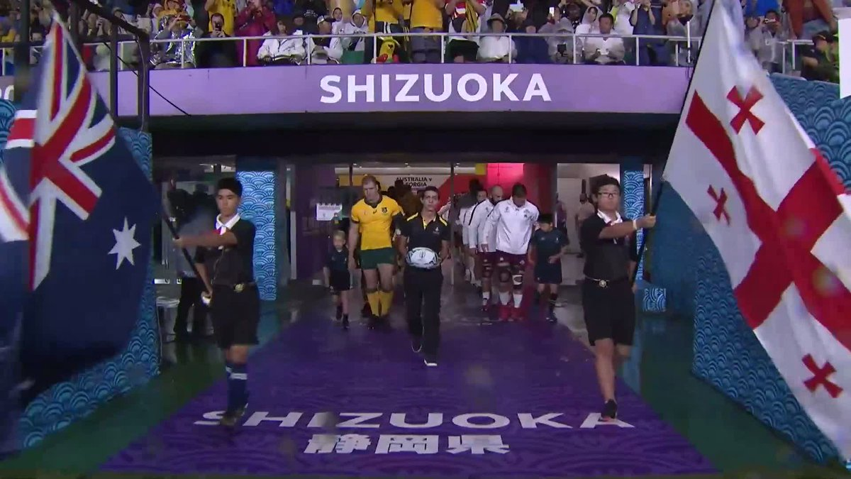 Teams walk out ahead of this Pool D match at #RWC2019 Who have you got to win this one, @wallabies or @GeorgianRugby? #AUSvGEO Find out where you can watch at rugbyworldcup.com/broadcasters