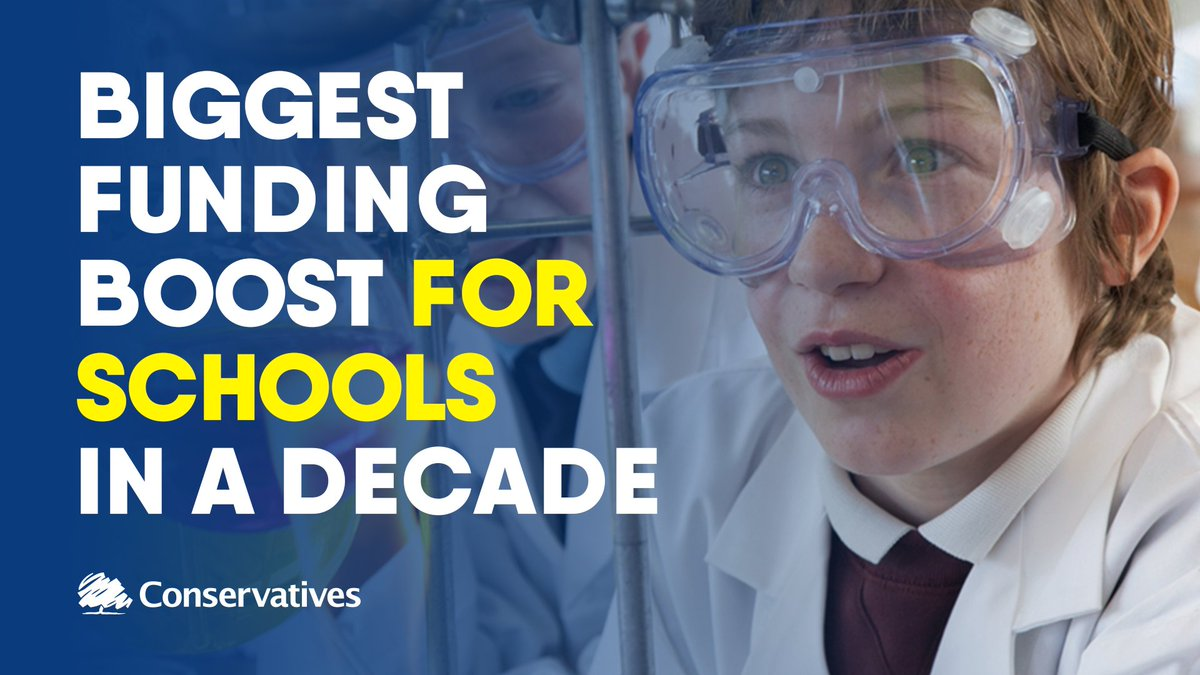 We are investing in our children's futures with the biggest funding boost for schools in a decade. This means more money for every child to receive a truly world-class education.