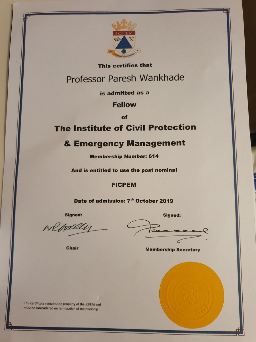 Delighted and proud to join the Institute of Civil Protection and Emergency Management as a Fellow. I'll also be chairing a new Blue Light SIG as part of my role. @icpem @EHU_Research @PeteDavis15 @NFCCChair @WHHFTChair @fire_trust @FIRE_Editor