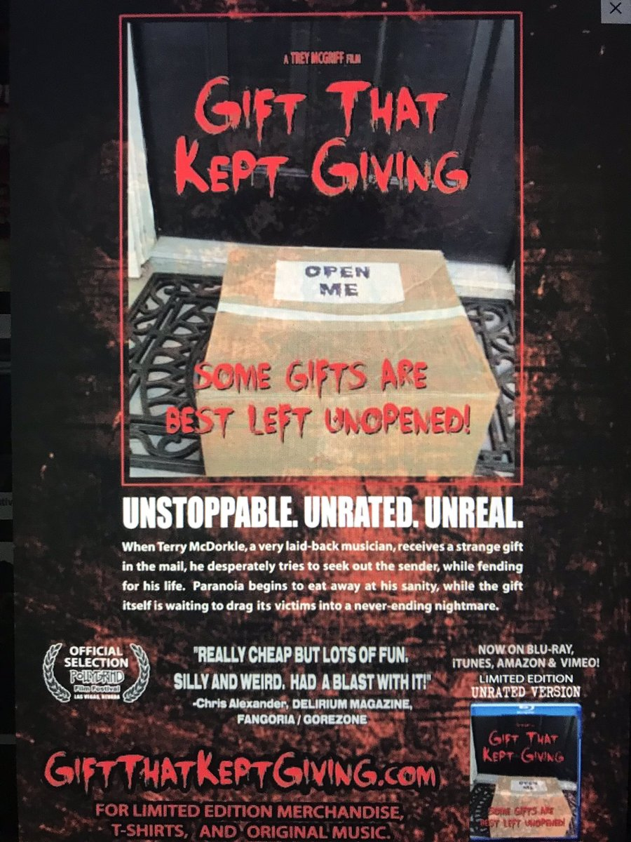 Looking for a fun movie this Halloween? Be sure to watch my film GIFT THAT KEPT GIVING! Now playing on @Amazon @AppleTV @vimeo and other fine stores! #GiftThatKeptGiving  #HorrorMovies #halloween2019pic.twitter.com/884tn3tMZV
