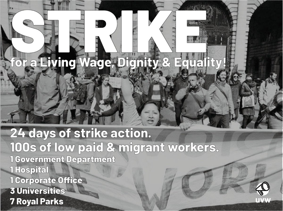 UVWs season of 7 strikes is upon us! Please support the strike fund if you can: uvwunion.org.uk/strikefund 100+ cleaners, caterers & porters have given notice of 15 strike days at St Marys hospital for equality of pay & all T&Cs w/ NHS staff. More here: facebook.com/uvwunion/photo…
