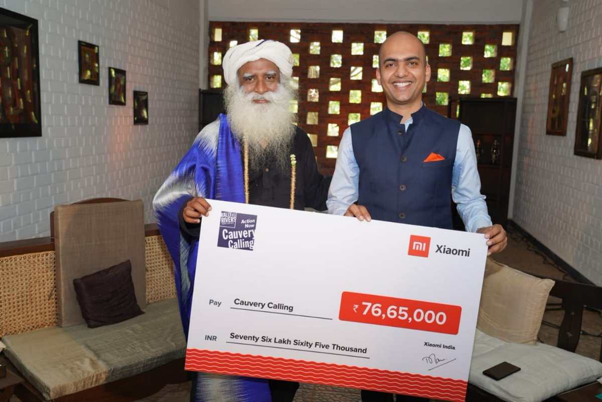 A land with rich soil and abundant water is the best gift we can offer to future generations. Appreciate your support and generous contribution to #CauveryCalling, @manukumarjain. -Sg