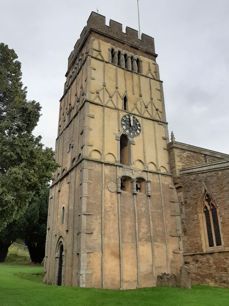 Visiting the 10th-century tower at Earls Barton church today