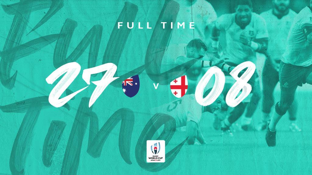 Full-time at #RWCShizuoka, its @wallabies who come away with the win beating @GeorgianRugby 27-8 #AUSvGEO #RWC2019