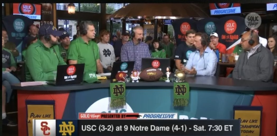 Always great to see @miketirico on ESPN. He and Doug Flutie join @espngolic @MGolicJR57 and @wingoz live from South Bend to preview this wknd's big #USCvsND game.