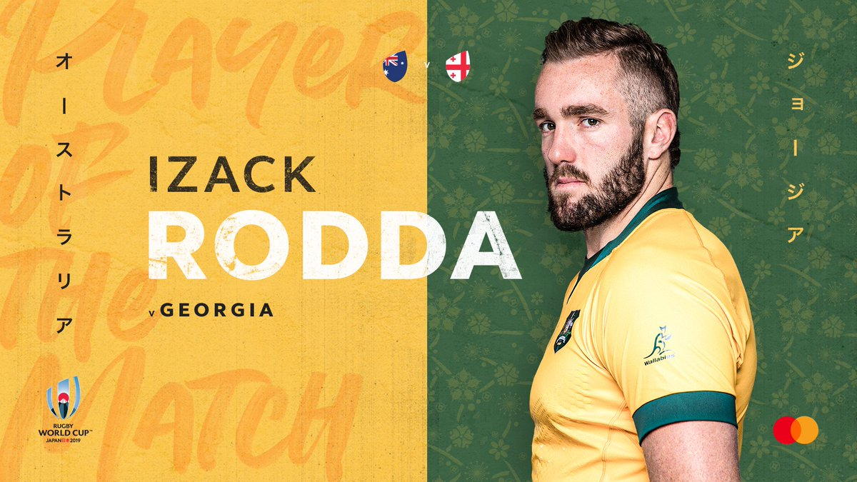 The @Mastercard #AUSvGEO Player of the Match – Izack Rodda 👏 The second row was a formidable physical presence, worked tirelessly and stole three lineouts 💪 #RWC2019 #RWCShizuoka #POTM