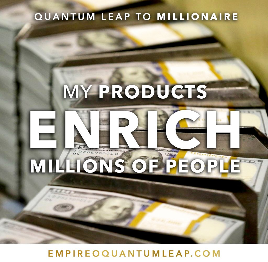 """My products ENRICH MILLIONS of PEOPLE. 🤯⛲💵♻️💵   """"QUANTUM LEAP TO MILLIONAIRE""""💰💎 ▶️ I want to know more about the program https://t.co/zfXarp0sbB https://t.co/oBWIGSE13Q"""