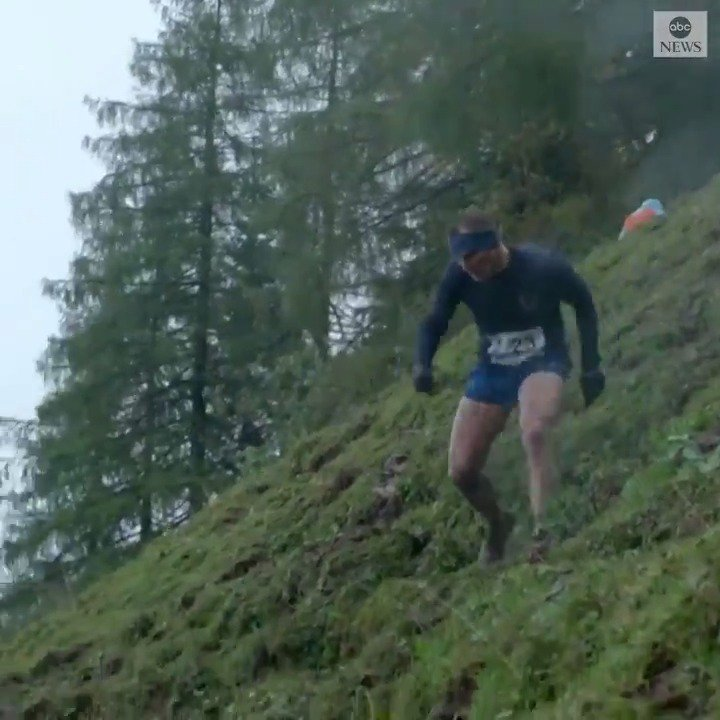 WORLDS STEEPEST RACE: Runners in Austria braved mud and rain to complete a 1,148-foot course on the Streif—a ski slope known as one of the worlds steepest and toughest descents. abcn.ws/35tP3xx