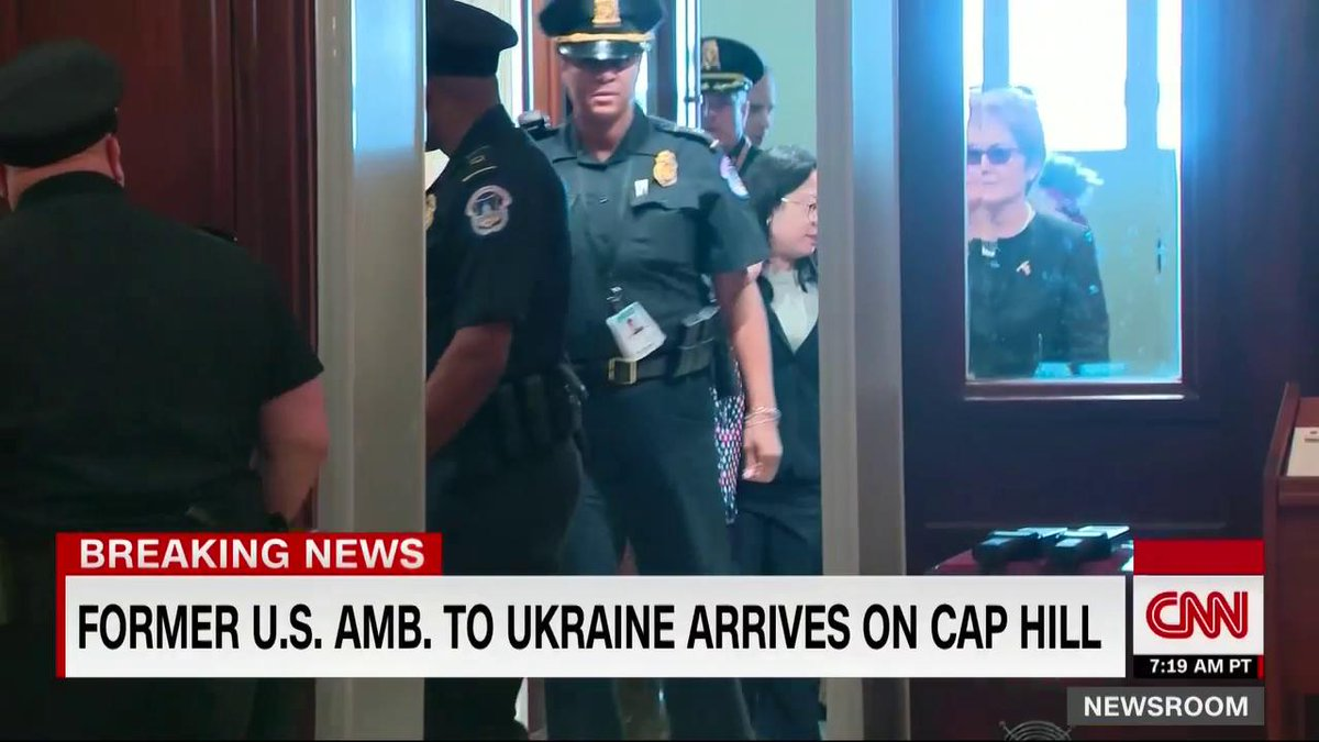 Marie Yovanovitch, former ambassador to Ukraine, arrives at the Capitol to testify despite Trumps attempt to block her appearance today. She could have chosen to sneak in, but she came through a public entrance. #ImpeachAndRemove #ResistersForum