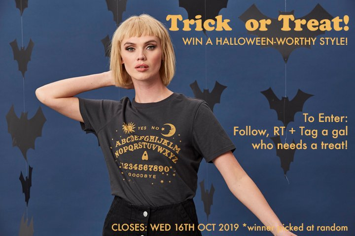 Trick or Treat gals… Win a piece from our Halloween Shop*. Follow, RT + Tag a gal who needs a treat!  Can't wait to win? Shop now:  http:// ow.ly/v1dX50wHpk8      *Prize subject to stock availability. Ends 16/10/19.  #FridayFeeling #FreebieFriday #win #competition #Halloween<br>http://pic.twitter.com/4WMrQP1AGB