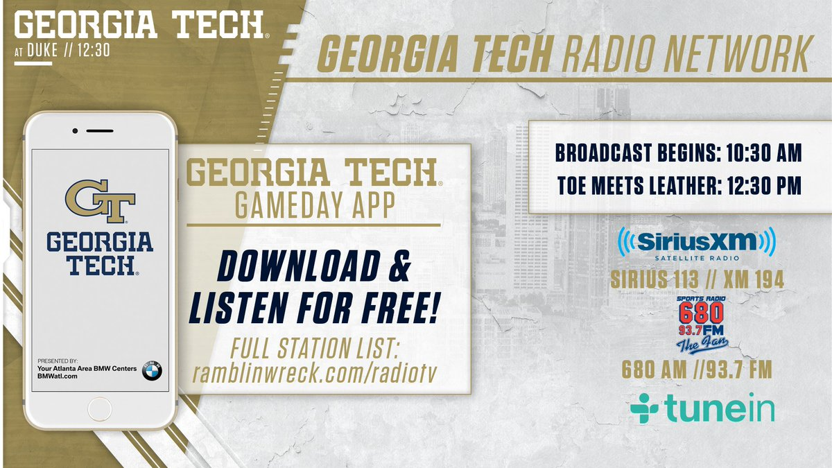 Pre-game coverage for today's @GeorgiaTechFB game is now live on the Georgia Tech Sports Network and 680 AM/93.7 FM The Fan. Kickoff at Duke at 12:30pm. #GTvsDUKE How to listen: 📱buzz.gt/gamedayapp19 📻 buzz.gt/fb-radio 💻 buzz.gt/liveaudio