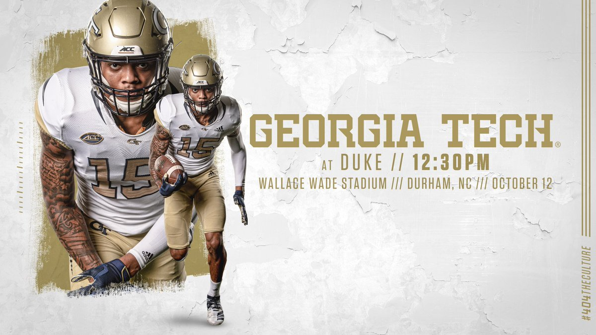 Be sure to follow @GeorgiaTechFB for live in-game updates of #GTvsDUKE. Kickoff coming up on @FoxSportsSouth. #TogetherWeSwarm