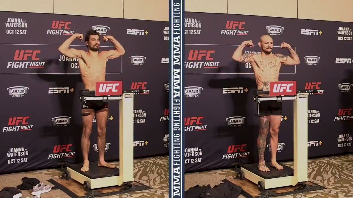 Kron Gracie and @CubSwanson hit the featherweight mark with ease ahead of their co-main event scrap at #UFCTampa tomorrow night. Watch full weigh-ins: mmafighting.com/2019/10/11/209…