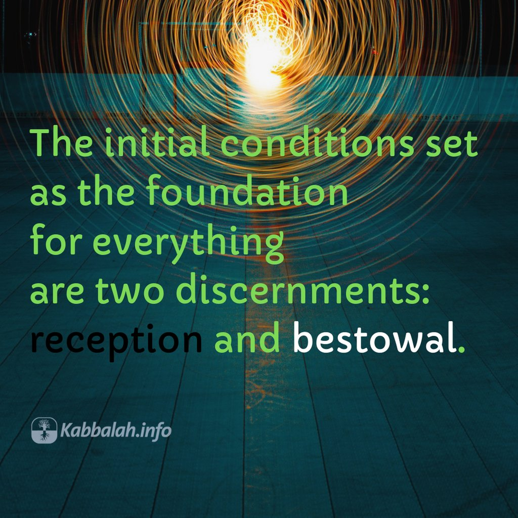 The initial conditions set as the foundation for everything are two discernments: reception and bestowal. Join a free online KABBALAH COURSE bit.ly/qp-Kabbalah-Co… #kabbalah #wisdom #bestowal #lifequotes #dailywisdom #reception #meaningoflife #life #balance #reality