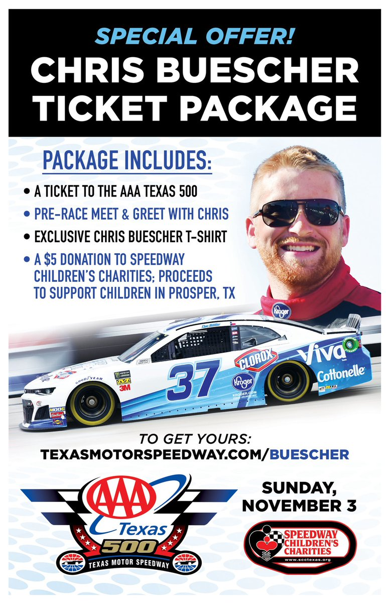 I love coming home to race @TXMotorSpeedway, but have a feeling this race will be extra special. Click the link below to meet me during race weekend! You'll get a special t-shirt, and a donation to @SCCNational. 💻 texasmotorspeedway.com/buescher