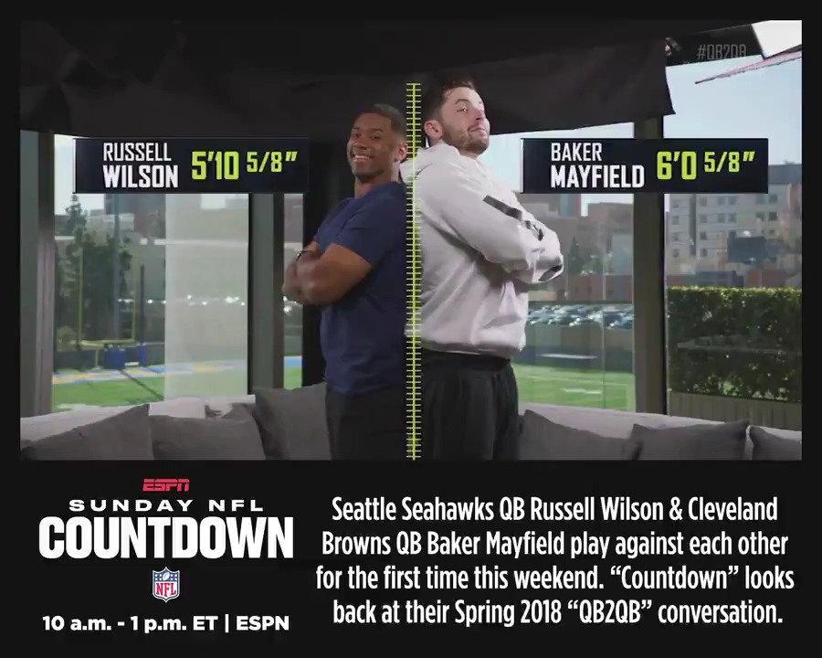 Sunday NFL Countdown -10a ET previews todays first Russell Wilson vs. Baker Mayfield meeting by revisiting their conversation from ESPNs 2018 QB2QB pre-draft series. #Seahawks #Browns #SEAvsCLE