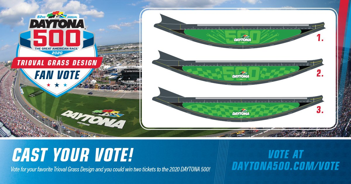 Which design should we plant for the 2020 #DAYTONA500? Vote and you could win a pair of tickets to the race! Vote now at bit.ly/2020TriovalVotehttps://t.co/DZf3GROXza srhlink.com/RG0RnD