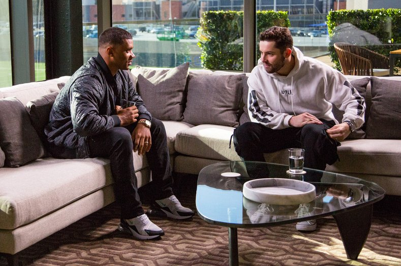 #Seahawks QB @DangeRussWilson hosted ESPNs 2018 QB2QB special w/ eventual #Browns No. 1 pick Baker Mayfield. Before Wilson & Mayfield face off this wknd, Sunday NFL Countdown revisits that meeting. #SEAvsCLE bit.ly/2VzCDj7