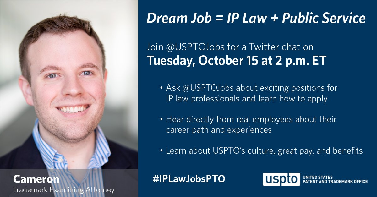 Mark your calendars for Tuesday, 10/15 to join our next @USPTOjobs Twitter chat for #IPLawJobsPTO.