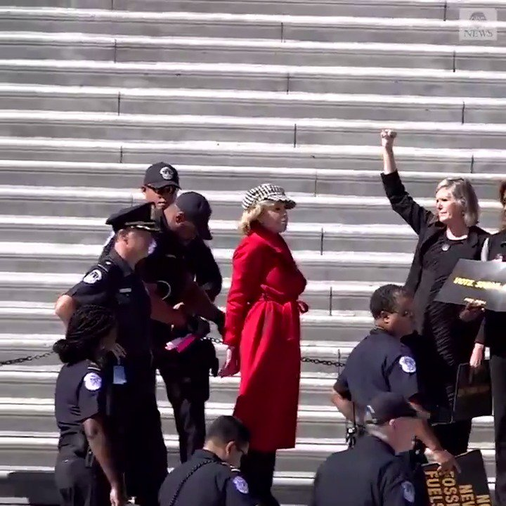 Multiple protesters, including Jane Fonda, arrested on the steps of the Capitol building, where they were demanding action on climate change. abcn.ws/2OF8EoL