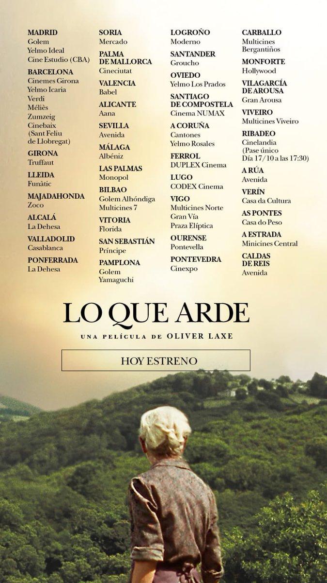 🔥O QUE ARDE🔥 A fermosa última película do noso querido e admirado Oliver Laxe xa está en salas moi preto da túa casa.   Imperdible!!.. Sal correndo aos cinemas 🏃🏾♀️🏃🏽♂️ #loquearde #oliverlaxe #cinemagalego