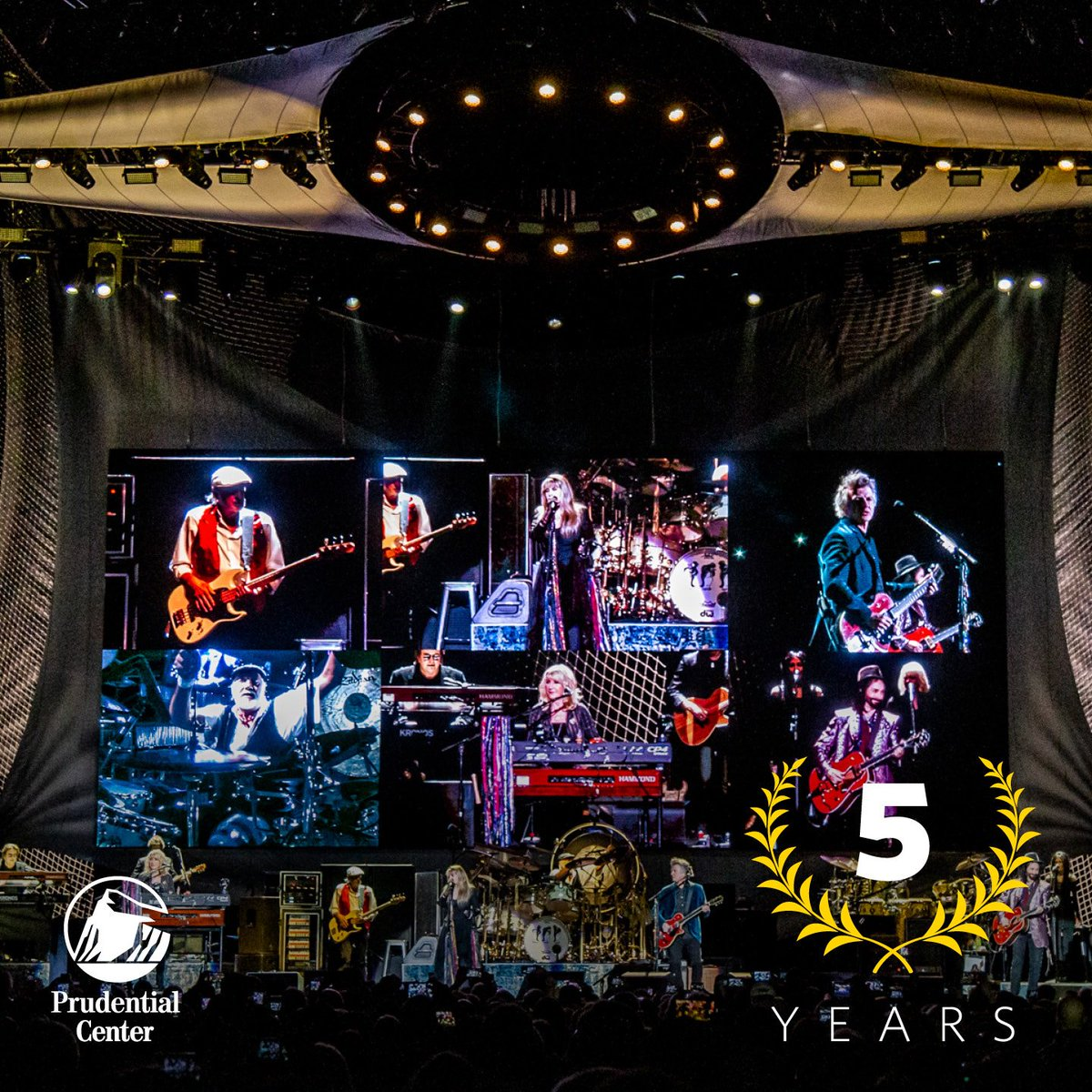 We loved having @FleetwoodMac here at #PruCenter on Mar. 13! Did you know that #OTD 5 years ago, they also took the #PruCenter stage!?  #FleetwoodMac | #FleetwoodMacPru