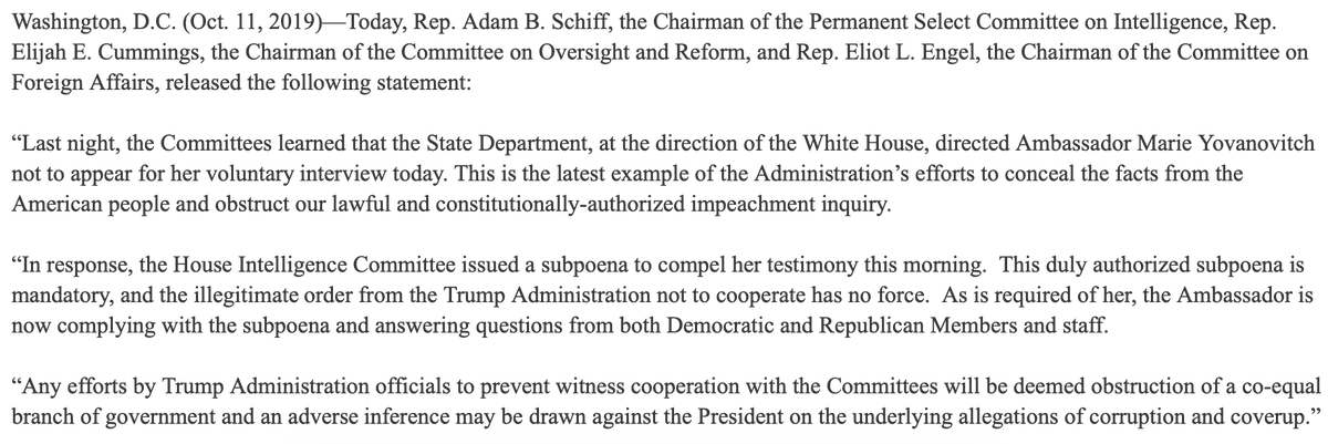 House Dems issued a subpoenaed after the State Department, at the direction of the White House, directed Ambassador Marie Yovanovitch not to appear for her voluntary interview today. Here is her full opening statement: games-cdn.washingtonpost.com/notes/prod/def… #ImpeachAndRemove #ResistersForum